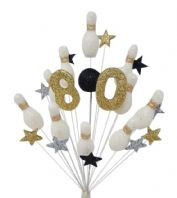 Skittles 80th birthday cake topper decoration in white, black, silver and gold
